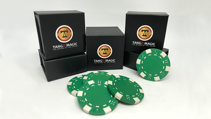 Expanded Shell Poker Chip Green plus 4 Regular Chips (PK001G)  by Tango Magic